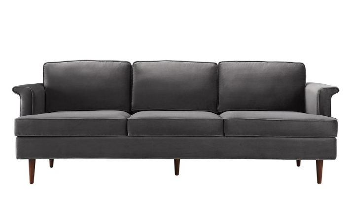 Acme Furniture Bois Grey Velvet Wedge Sofa Set With Small Bed Plus With Regard To Favorite Mansfield Graphite Velvet Sofa Chairs (Gallery 10 of 20)