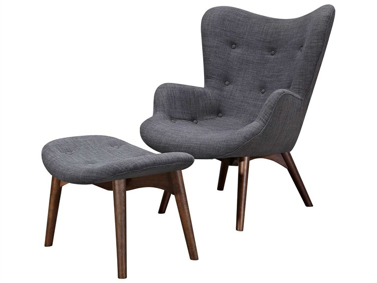 Aidan Ii Swivel Accent Chairs With Regard To Most Current Nyekoncept Aiden Charcoal Gray Accent Chair & Ottoman With Walnut (View 5 of 20)
