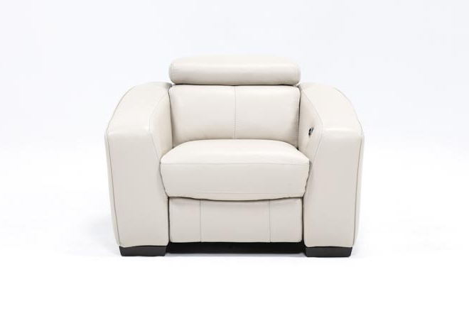 Amala Bone Leather Reclining Swivel Chairs For Recent Kristen Silver Grey Leather Power Recliner W/usb (Gallery 2 of 20)