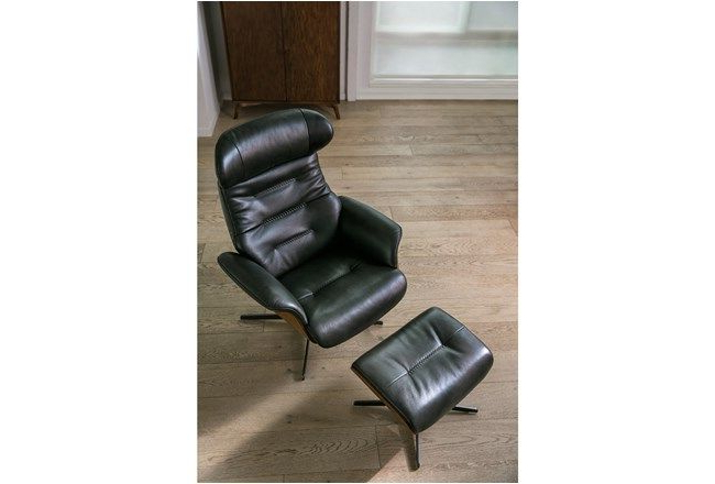 Amala Dark Grey Leather Reclining Swivel Chairs In Most Recently Released Amala Dark Grey Leather Reclining Swivel Chair & Ottoman In (View 3 of 20)