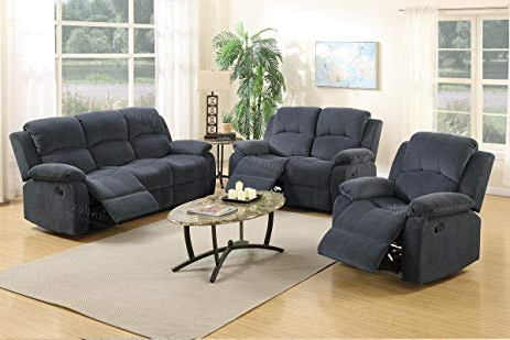 Amazon: 3Pcs Modern Blue Grey Dacron Fiber Reclining Sofa In Well Known Sofa Loveseat And Chair Set (View 1 of 20)