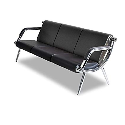 Amazon : Bestmart Inc Black Leather Office Reception Sofa 3 Seat Intended For Trendy Office Sofa Chairs (View 14 of 20)