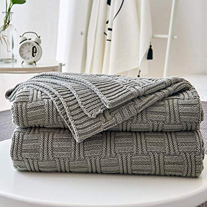 Amazon: Cotton Cable Gray Knit Throw Blanket For Couch Chairs Inside Most Recently Released Cotton Throws For Sofas And Chairs (View 8 of 20)