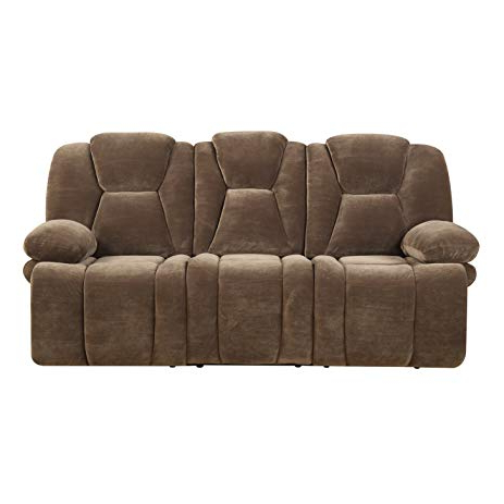 Amazon: Emerald Home Emerald Caressa Brown Dual Reclining Sofa Inside Latest Caressa Leather Dark Grey Sofa Chairs (View 3 of 20)