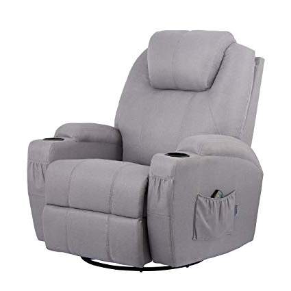 Amazon: Esright Grey Fabric Massage Recliner Chair 360 Degree For Most Up To Date Grey Swivel Chairs (View 1 of 20)