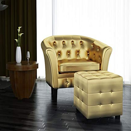 Amazon: Festnight Cube Armchair Leather Single Sofa Chair With In Fashionable Sofa Chair With Ottoman (Gallery 3 of 20)