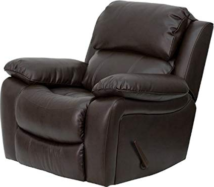 Amazon: Flash Furniture Brown Leather Rocker Recliner: Kitchen With Current Amala Dark Grey Leather Reclining Swivel Chairs (View 8 of 20)