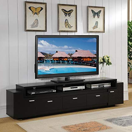 Amazon: Furniture Of America 84 Inch Peyton Modern Tiered Tv Throughout Latest 84 Inch Tv Stands (Gallery 4 of 20)