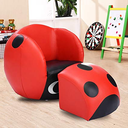 Amazon: Gentleshower Kids Ladybug Sofa Chair With Ottoman For Intended For 2017 Sofa Chair With Ottoman (View 2 of 20)