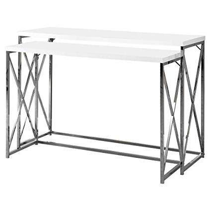 Amazon: Monarch Specialties 2 Piece Metal Console Table Set, 46 Regarding Trendy Sofa Table With Chairs (View 16 of 20)