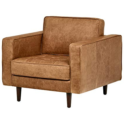 Amazon: Rivet Aiden Tufted Mid Century Leather Chair,  (View 7 of 20)