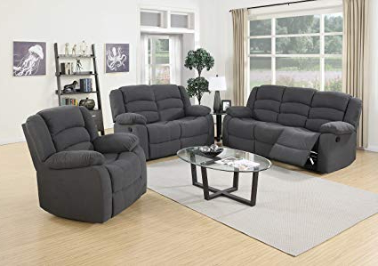 Amazon: Us Pride Furniture 3 Piece Grey Fabric Reclining Sofa Throughout Well Known Sofa Loveseat And Chairs (View 4 of 20)