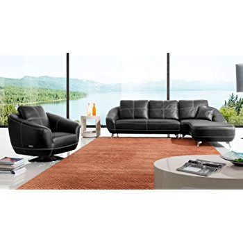 Amazon: Zuri Furniture Black Lucy Leather Sectional Sofa  Left Regarding Latest Lucy Grey Sofa Chairs (Gallery 9 of 20)
