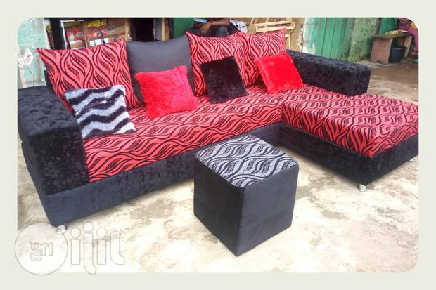 An L Shape Sofa / Chair With Ottoman Puffer And Pillows. In Lagos Pertaining To Preferred Sofa Chair With Ottoman (Gallery 17 of 20)