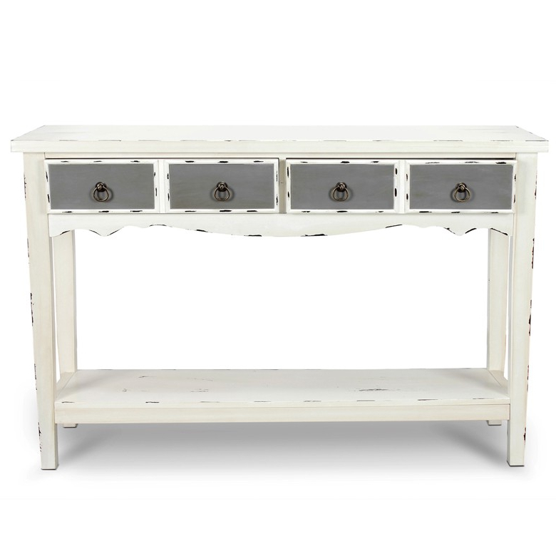 Antique White Distressed Console Tables In Newest Belleze Hand Painted Distressed Antique White Finish Accent Console (Gallery 13 of 20)
