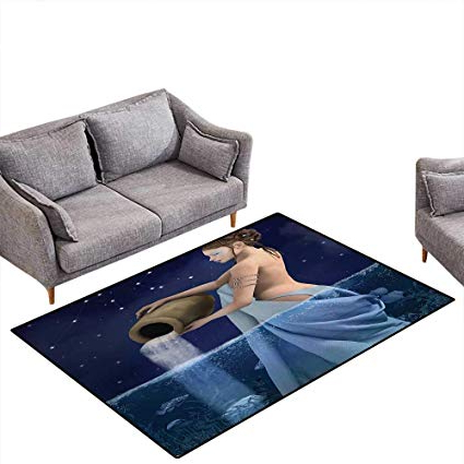 Aquarius Dark Grey Sofa Chairs In Newest Amazon: Astrology Door Mats Area Rug Aquarius Lady With Pail In (Gallery 5 of 20)