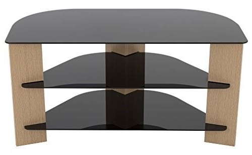 Avf Fs900Varob A Varano Corner Tv Stand, Oak And Black Glass In Well Known 24 Inch Corner Tv Stands (Gallery 12 of 20)