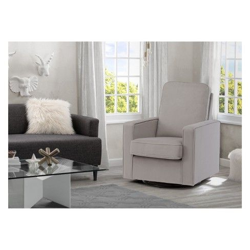 Bailey Linen Flare Arm Wing Skirted Swivel Gliders Pertaining To Well Known Delta Children Landry Nursery Glider Swivel Rocker Chair : Target (View 5 of 20)