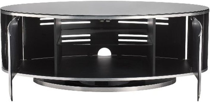 Beam Thru Tv Cabinets Regarding Favorite Luna High Gloss Black Oval Tv Cabinet (View 3 of 20)