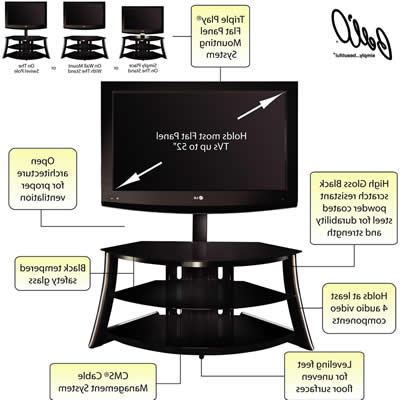 Bell O Triple Play Tv Stands Within Most Up To Date Bell'o Tv Stands Fp4858Hg (Flat Panel Tv Stand) From D&m Sound (Gallery 16 of 20)