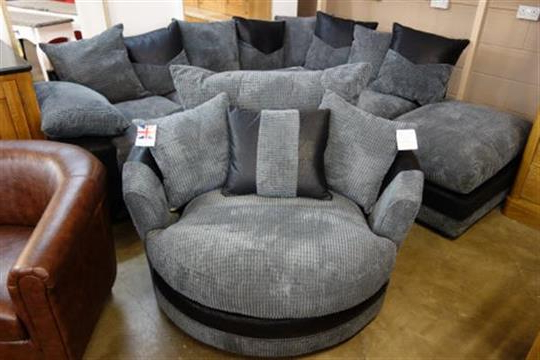 Best And Newest A Dino Black Fabric Corner Sofa And Dina Black Fabric Swivel Chair Throughout Corner Sofa And Swivel Chairs (View 4 of 20)