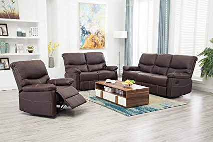 Best And Newest Amazon: Bestmassage Living Room Sofa Set Recliner Sofa Reclining In Sofa And Chair Set (View 4 of 20)