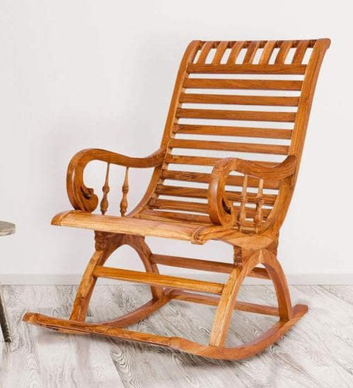 Best And Newest Buy Teak Wood Rocking Chair In Light Teak Finishkarigar Online Throughout Sofa Rocking Chairs (View 10 of 20)