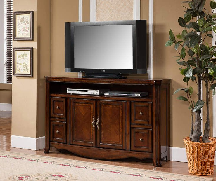 "Big Tv Stands Furniture Within Most Up To Date 60"" Ash Burl Finish Tv Stand At Big Lots. (Gallery 9 of 20)"