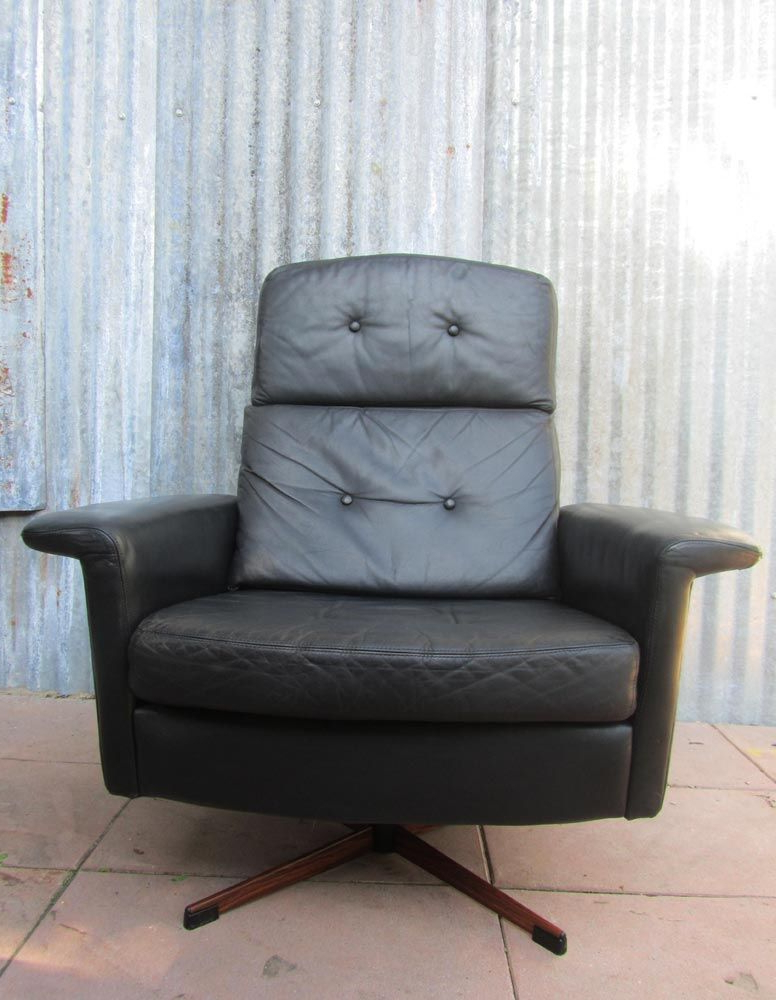 Black Leather Lounge Swivel Chair From Goldsiegel, 1960S For Sale At With Regard To Most Popular Leather Black Swivel Chairs (View 4 of 20)