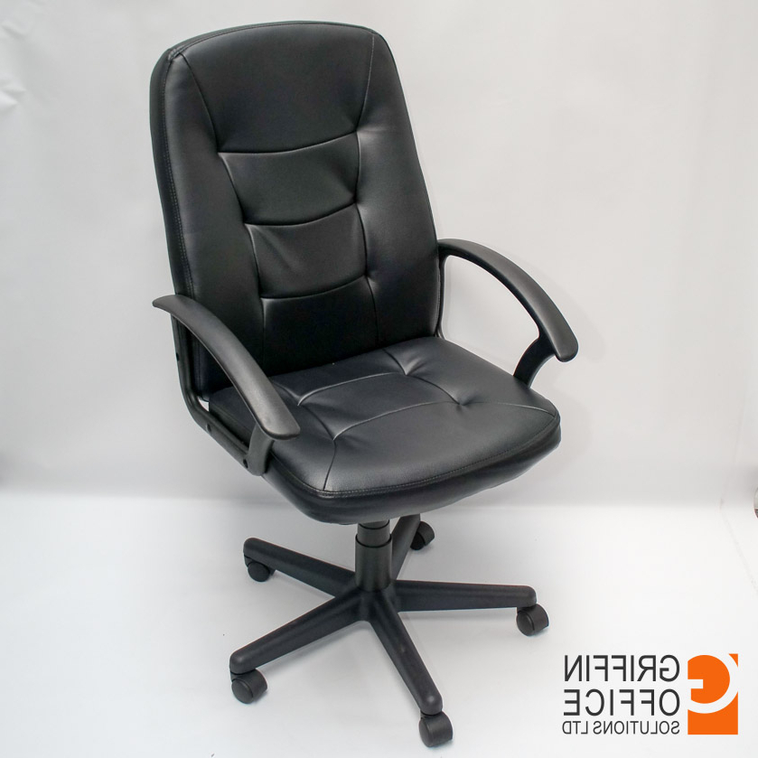 Black Leather Swivel Chair – Griffin Office Solutions Ireland For Famous Leather Black Swivel Chairs (View 5 of 20)