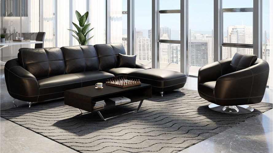Black Lucy Leather Sectional Sofa (View 6 of 20)
