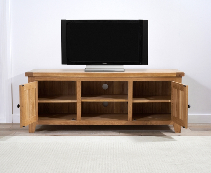 Buy Mark Harris York Solid Oak 2 Door Tv Unit – 150Cm Online – Cfs Uk Regarding Favorite 150Cm Tv Units (View 10 of 20)