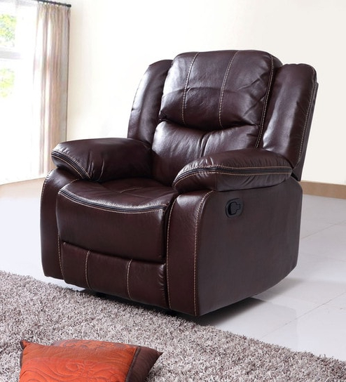 Buy Scotland One Seater Recliner Sofa In Brown Leatheretteevok With 2018 Recliner Sofa Chairs (View 7 of 20)
