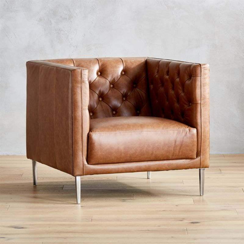 Cb2 With Regard To Chocolate Brown Leather Tufted Swivel Chairs (View 8 of 20)