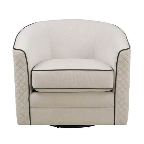 Charcoal Swivel Chairs In Best And Newest Emerald Home Furnishings Roe Swivel Chair Tan With Charcoal Welts (View 4 of 20)