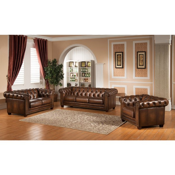 Chesterfield Sofa And Chairs Intended For 2017 Shop Hickory Leather Chesterfield Sofa, Loveseat, And Chair – Free (View 3 of 20)