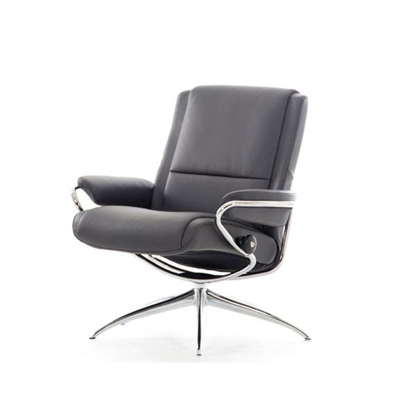 Chill Swivel Chairs With Metal Base In Most Recently Released Stressless Paris – Leather (Or Fabric) Low Back Recliner / Chair (View 7 of 20)