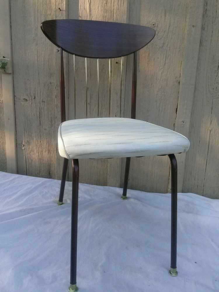 Chill Swivel Chairs With Metal Base Regarding Famous Vintage 1950S Atomic Chromcraft Kitchen Chair Vinyl Brass Brown Mcm (View 10 of 20)