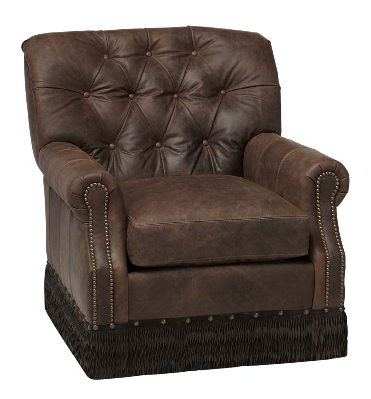 Featured Photo of Chocolate Brown Leather Tufted Swivel Chairs