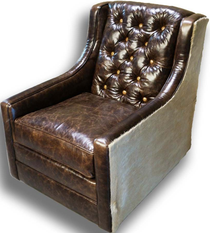 Chocolate Brown Leather Tufted Swivel Chairs With Most Current Snowmass Tufted Swivel Glider Western Accent Chairs – Distressed (View 4 of 20)