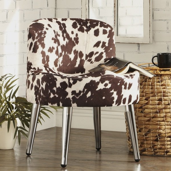 Circuit Swivel Accent Chairs Regarding Most Recent Shop Bridgeport Ergonomic Cow Print Accent Chair – Free Shipping (View 5 of 20)