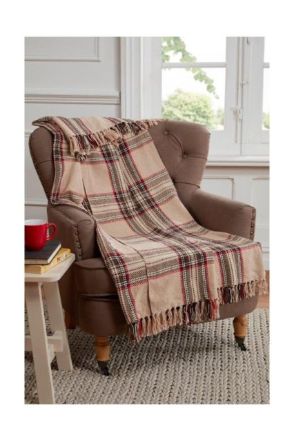 Cotton Throws For Sofas And Chairs Regarding Most Recent Tartan Check Design Throw Blanket For Sofa /chair / Bed Cotton (View 12 of 20)