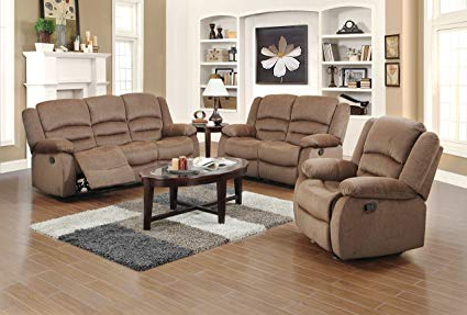 Current Amazon: Us Pride Furniture 3 Piece Light Brown Fabric Reclining Throughout Sofa Loveseat And Chair Set (View 5 of 20)