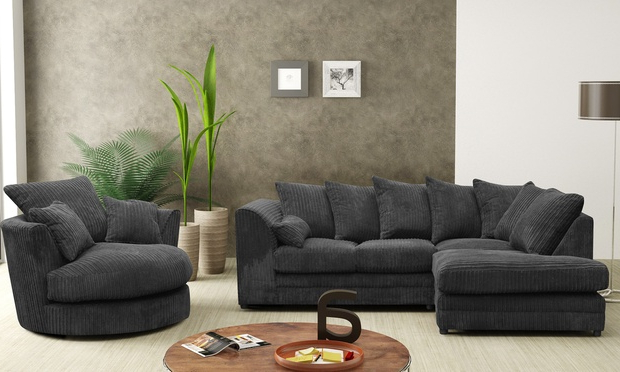 Current Desiree Sofa Corner Sofa Fabric Jumbo Cord Collection Set Grey In Corner Sofa And Swivel Chairs (View 12 of 20)