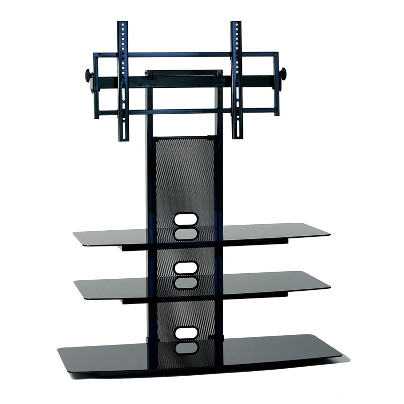 Current Marvelous Design Black Tv Stand With Glass Shelves Black Tv Stand Pertaining To 65 Inch Tv Stands With Integrated Mount (View 13 of 20)