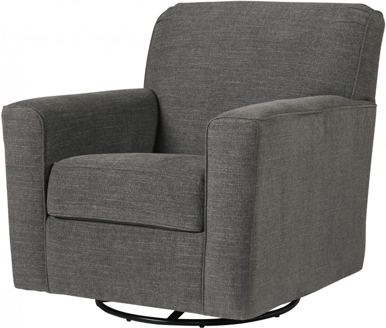 Current Signature Designashley Alcona Charcoal Swivel Glider Accent Throughout Charcoal Swivel Chairs (View 6 of 20)
