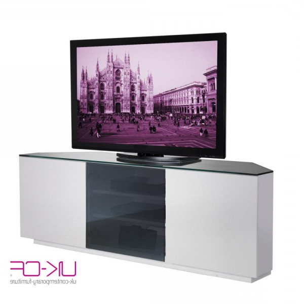 Current Uk Cf Milan Cabinet White Gloss And Black Glass Corner Av Stand 150Cm Inside 150Cm Tv Units (View 17 of 20)