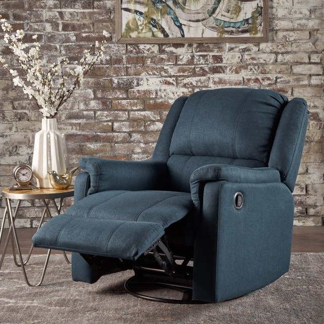 Decker Ii Fabric Swivel Rocker Recliners With Regard To Newest Jemma Tufted Fabric Swivel Gliding Recliner Chair In Living Room (Gallery 11 of 20)