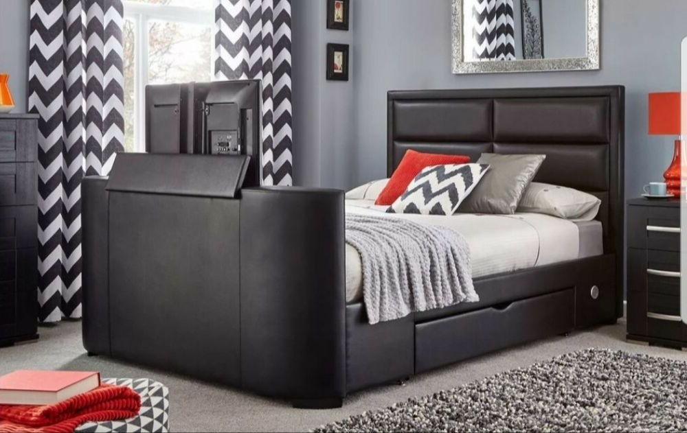 Double Size Tv Bed Frame Black With 32 Inch Lg Tv#re Listed# (View 4 of 20)