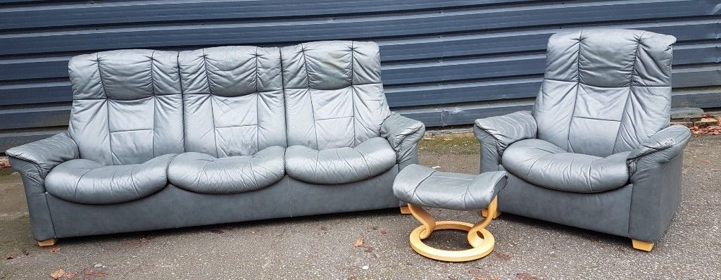 Ekornes Stressless Grey Leather 3 Seater Recliner And Armchait (View 5 of 20)